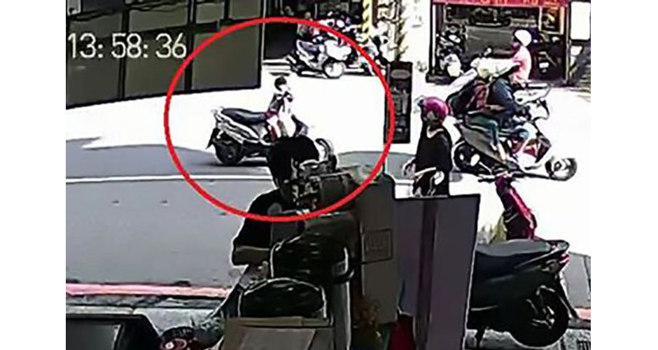 Toddler seen speeding down road on scooter after engine is left running - with terrified dad running after him