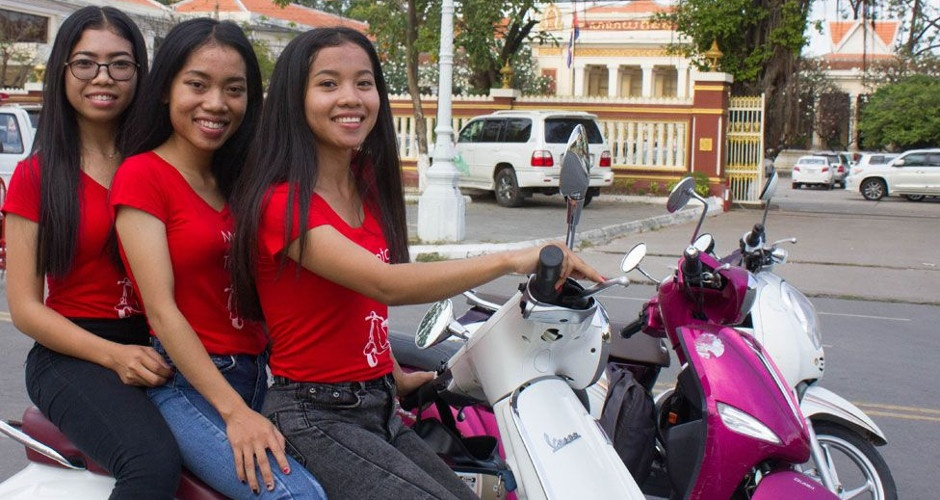 Phnom Penh's No 1 ladies taxi scooter agency